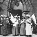 Mabel Capper and fellow Suffragettes demonstrating outside the Police Court 191
